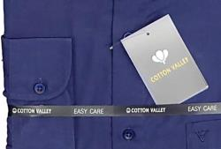 Cotton Valley Classic Shirt with Grandad Collar Long Sleeve NAVY