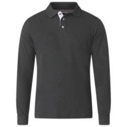 D555 BIG MENS LONG SLEEVE POLO WITH CHAMBREY PLACKET DARVIN CHARCOAL 3 - 6XL
