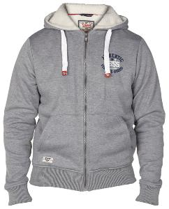 D555 Fully lined Full Zipper Hooded Sweatshirt GREY MARL 4XL