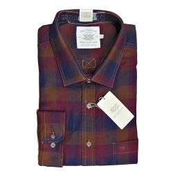 BAR HARBOUR WARM HANDLE  COTTON   CHECK  SHIRT NAVY/PORT