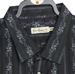 BAR HARBOUR Woven Cotton Shirt with floral detail Long Sleeve  BLACK 4XL