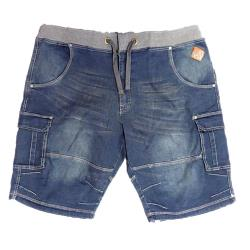 KAM Denim Cargo Shorts with Stretch waistband DISTRSSED DENIM