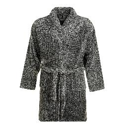 ESPIONAGE LONG PILE Luxurious Micro-Fleece Gown  BLACK/GREY 3 - 8XL