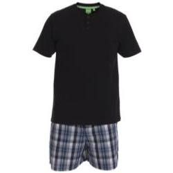 D555 Grandad  Tee with Woven shorts Pyjama Set Loungewear BLACK