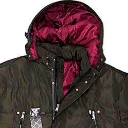 SALE - KAM Long Padded Coat with Quilted Lining and Zip off Hood BROWN 3XL