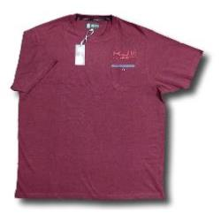 KAM Casual Melange Crew neck Tee shirt with Chest Pocket BURGUNDY 5XL