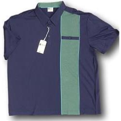 GABICCI Designer Classic Polo shirt NAVY/GREEN 3 - 5XL