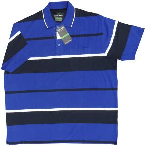 LOUIE JAMES Jersey Stripe Polo with Pocket ROYAL/NAVY/WHITE