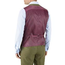 "SKOPES MOONEN  OLIVE CHECK  WOOL BLEND WAISTCOAT  GREEN  50 - 66"" CHEST"