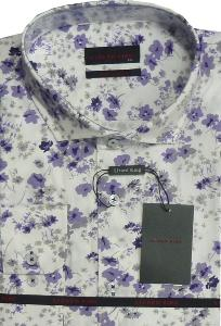 LIZARD KING White Floral Print Shirt with cut away collar