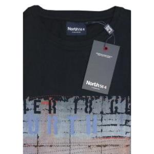 NORTH 56'4 Natural Cotton Tee with graphic print detail PIER 18  BLACK 7XL