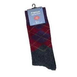 HJ Hall MERINO WOOL Large Sock ARGYLE DIAMOND HEATHER