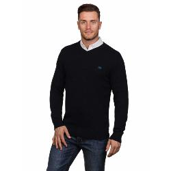 RAGING BULL KNITWEAR - Cotton Cashmere Vee Neck Sweater BLACK 3 - 6XL