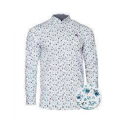 RAGING BULL SHIRTS - Long Sleeve Natural Cotton Blossom Print Shirt NAVY/WHITE  3 - 6XL