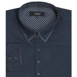 SUBTERFUGE Long Sleeve Geometric Print Shirt NAVY