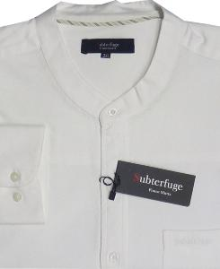 ESPIONAGE White Long sleeve Oxford with Grandad collar 7XL