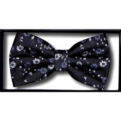 DOUBLE TWO Extra Long  Bow Tie BLACK / SILVER FLORAL