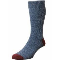 NEW - HJ Hall CHUNKY COTTON RICH CASUAL SOCK DENIM/RED 11-13 UK
