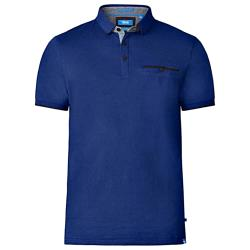 D555  SHORT SLEEVE FINE STRIPE POLO WITH CHEST  POCKET JOHAN BLUE 4 - 8XL