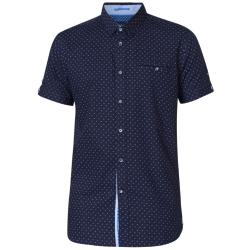 D555 ALL OVER  PRINT COTTON SHIRT WITH CHEST POCKET  KURT DARK NAVY  3 - 6XL