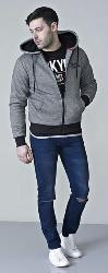 D555  SHERPA LINED FULL ZIP HOODY WILLIAM BLACK 3 - 6XL