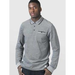D555 LONG SLEEVE POLO WITH JACQUARD COLLAR AND CUFF  CHIGBO  CHARCOAL MELANGE 3- 6XL