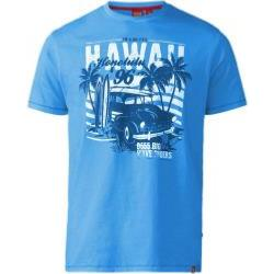D555 Hawaii Print Crew neck T-Shirt  BLUE 5XL