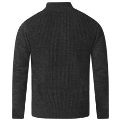 D555   ZIPPER NECK CABLE SWEATER WITH CHEST POCKET STEFON BLACK 2 - 5XL
