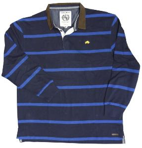 RAGING BULL Long Sleeve Striped First XV Rugby Shirt  NAVY/ROYAL