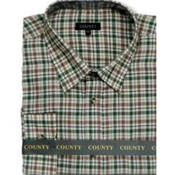 SALE - COUNTY Brushed Check Long Sleeve Shirt TAN / GREEN / BEIGE 2 - 3XL