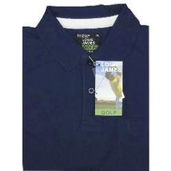 LOUIE JAMES Plain Golf Polo Shirt with Pocket NAVY 6XL