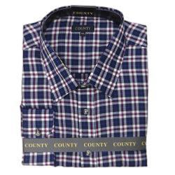 SALE- COUNTY Tattersall Warm brushed Check Shirt NAVY/RED 2XL