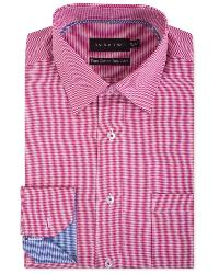 "DOUBLE TWO Gingham Check Long Sleeve Formal Shirt  RED 19.5"" / 3XL"