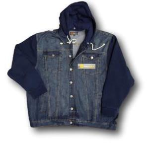 KAM Denim Jacket with Jersey Sleeves and Hood 7XL