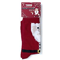 D555  Christmas Cotton rich King size Socks SANTA RED 12 - 15 UK