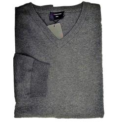 ESPIONAGE  Cotton Pullover vee neck MID GREY 3XL