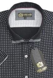 LOUIE JAMES Exclusive Cotton Rich Fashion Shirt with double collar BLACK