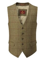 SKOPES   HERITAGE COLLECTION  WOOL BLEND CHECK WAISTCOAT BROWN INVERARY
