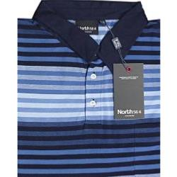 NORTH 56'4 Honeycombe Woven Striped Polo with Chest Pocket NAVY/BLUE 7XL
