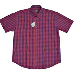 COTTON VALLEY  Pure Cotton Check with button collar detail RED/NAVY 3XL