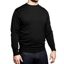 REPLIKA JEANS  Fine Knit Cotton Pullover  BLACK