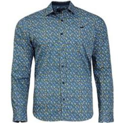 RAGING BULL COTTON CASUAL FLORAL PRINT SHIRT MID BLUE