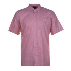 ESPIONAGE Short Sleeve Linen Look Cotton Shirt SALMON 2 - 8XL