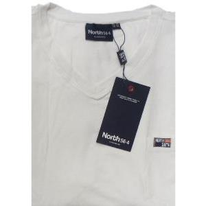 NORTH 56'4 Natural Cotton Plain Tee with Vee neck and Chest Pocket WHITE