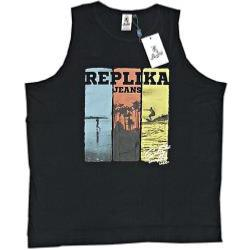 REPLIKA JEANS  Cotton Tank Top Surf Print Vest BLACK