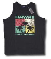 ESPIONAGE Printed Cotton Vest 'HAWAII' BLACK