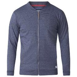 SALE - D555 FULL ZIP  STRIPED SWEATSHIRT WITH POCKETS  NAVY 5 - 8XL