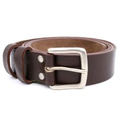 D555 HAND CRAFTED REAL LEATHER HIDE BELT WIDE 37mm BROWN LIAM  44 - 64""