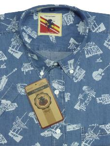 ESPIONAGE Denim Chambrey Short sleeve shirt 2XL