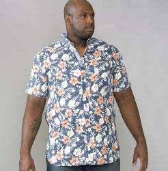 D555 Short Sleeve Hawaiian Print Shirt HUXLEY